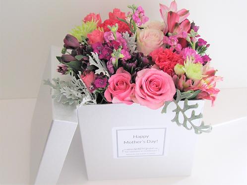 Large Luxury Box Mixed Flower Bouquet Hatbox Arrangement Customizable Label