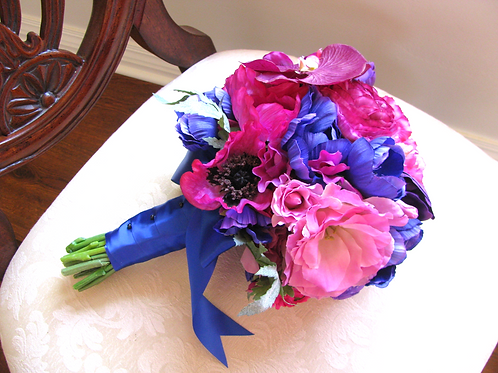 Ranunculus and Poppies Silk Wedding Bouquet