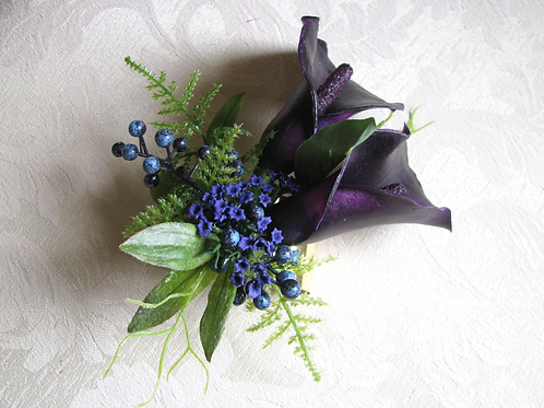 Silk Purple Calla Lily Wrist Corsage on Gold Tone Cuff  Bracelet in Corsage Box