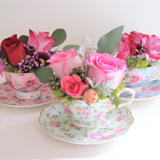 Teacup Flower Hatbox Arrangement