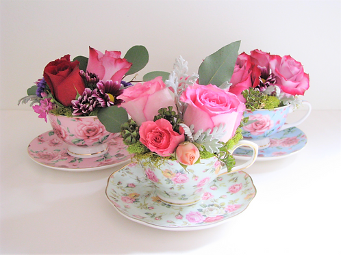 Luxury Box Collectable Teacup Flower Hatbox Design Customizable Label