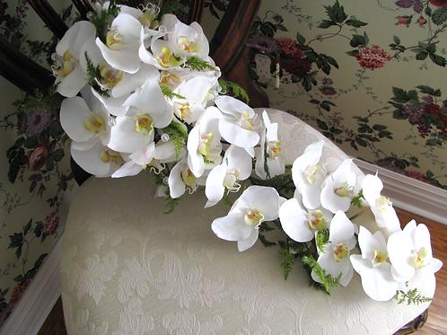 Cascading White Orchid Silk Bridal Bouquet