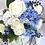 Thumbnail: Blue Hydrangea and White Rose Silk Wedding Bouquet
