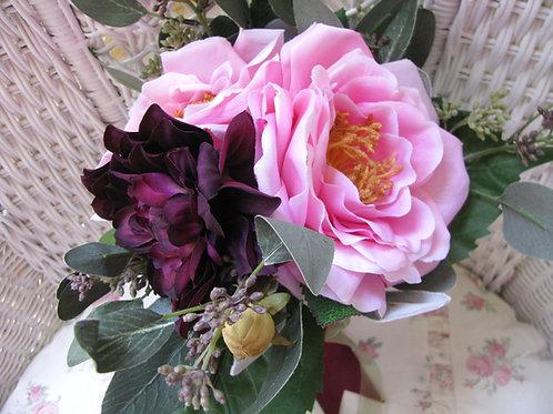 Rose & Dahlia Marsala Petit Hand Tied Silk Wedding Bouquet