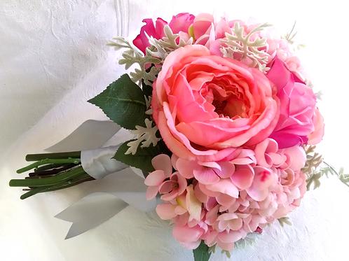 Pink Hydrangea and Garden Rose Silk Wedding Bouquet