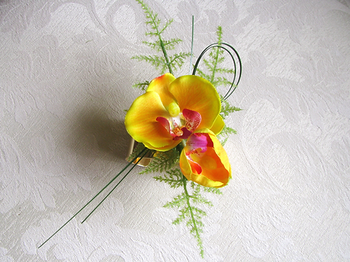 Silk Phalaenopsis Orchid Wrist Corsage on Gold Tone Cuff Bracelet in Corsage Box