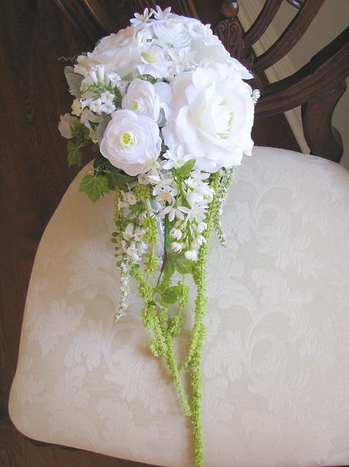 White Rose and Ranunculus Cascading Silk Wedding Bouquet