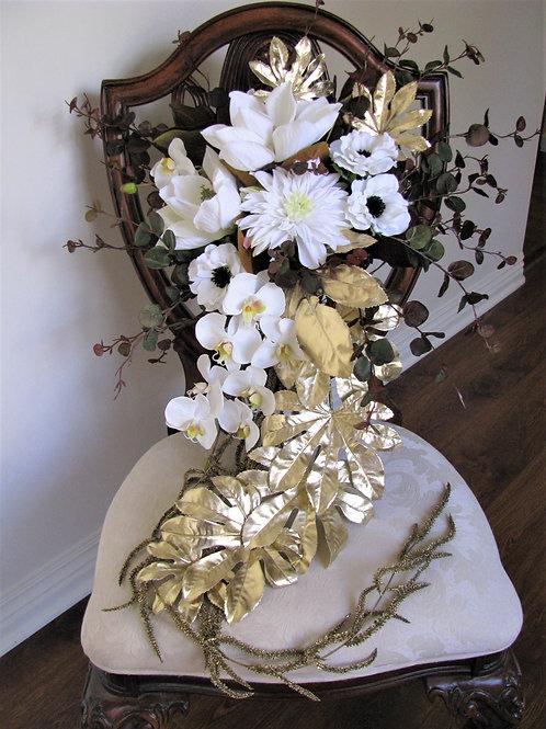 Modern Glam White and Gold Hand Tied Silk Wedding Bouquet