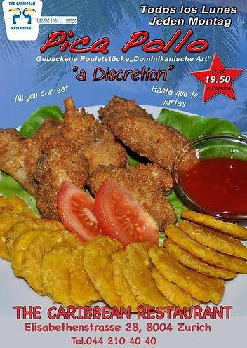 Picapollo,Knusprige Pouletstückchen mit gebackenen Kochbananen