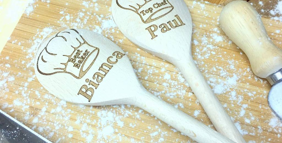 Baker's Hat Personalised Wooden Spoon