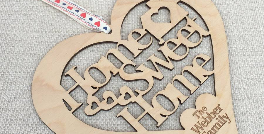 Home Sweet Home Cut Out Wooden Heart