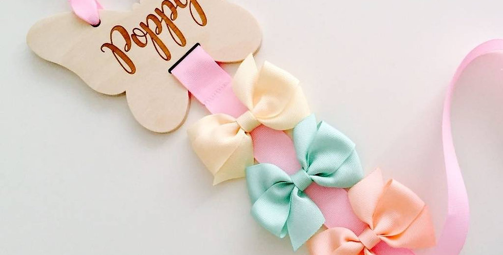 Butterfly Shaped Wooden Bow Holder With Engraved Name