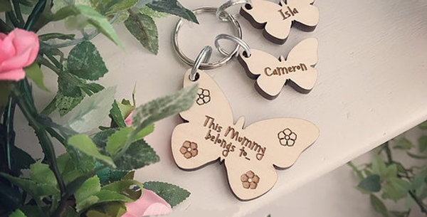 Butterfly Keyring and Name Tags