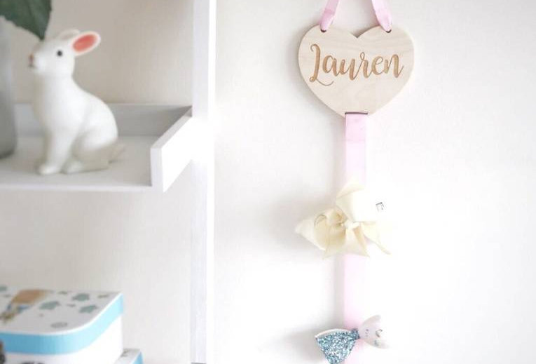 Heart Shaped Wooden Bow Holder With Engraved Name