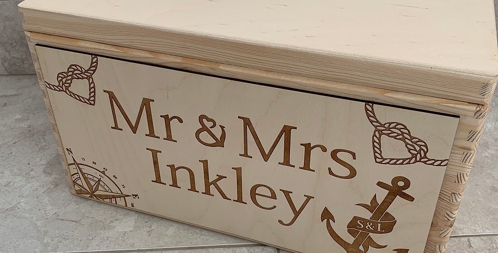 Large Wooden Box with 2 Custom Panels