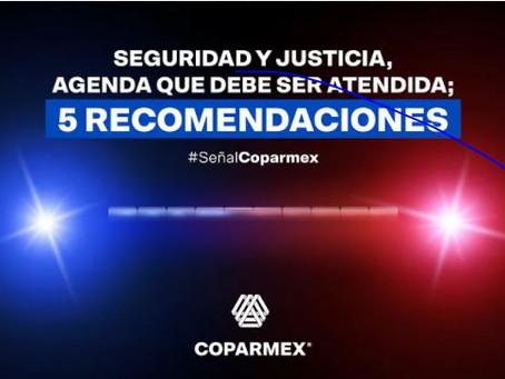Seguridad y Justicia, agenda que debe ser atendida; 5 recomendaciones.