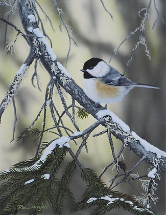 "Chickadee-dee-dee - 14""x11"" Original on Canvas"