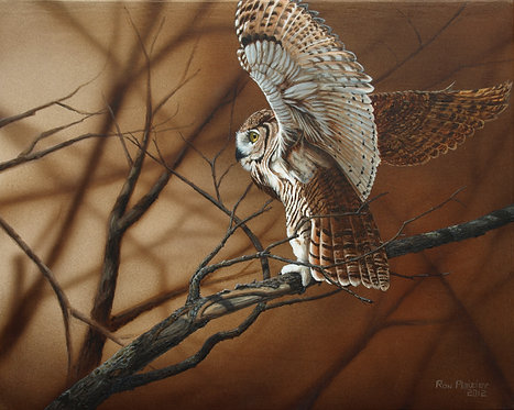 """Great Horned Owl 18""""x24"""" -SOLD-"""