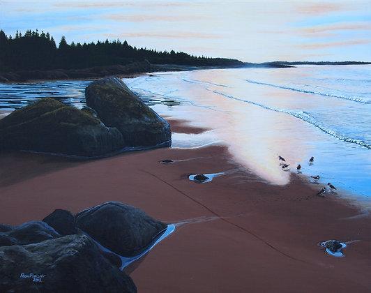 "Deep Cove Sandpipers 20""x16"" framed original"