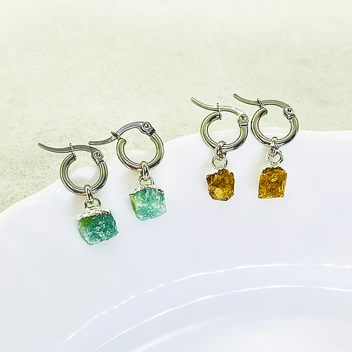 Earrings (Green Quartz - Citrine)