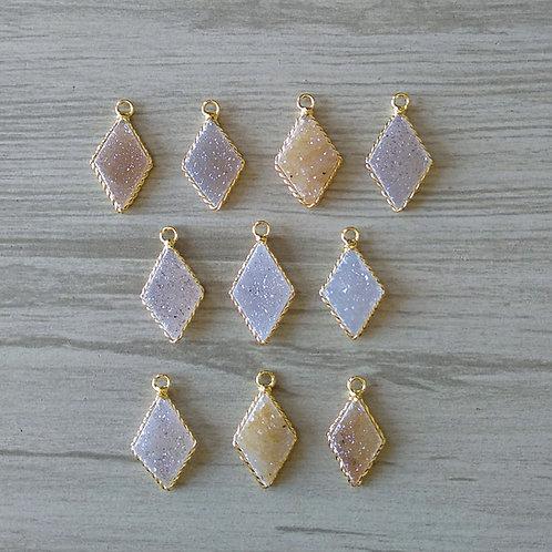 Diamond shape druzy pendant (20-25 mm)(New Plating)