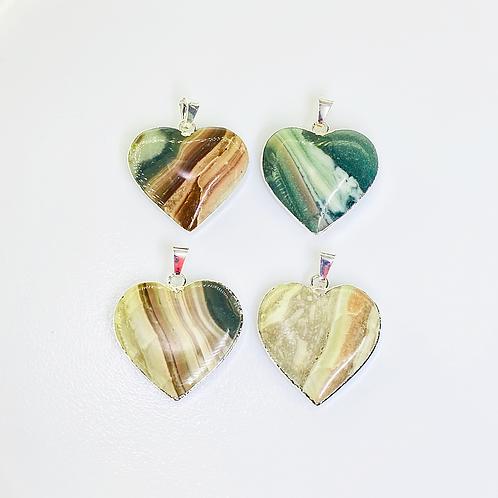 Heart Jasper Pendants