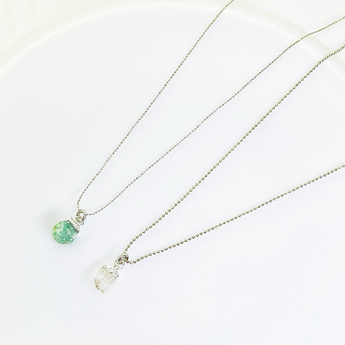 Necklace (Green Quartz-Crystal Quartz)(Chains:40 cm)