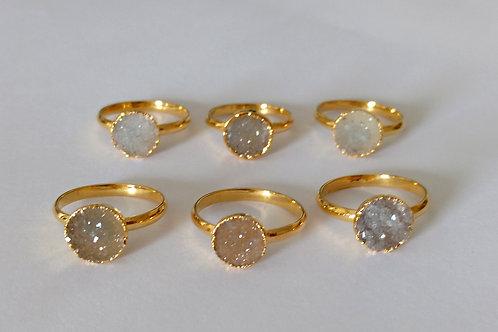 Round Druzy ring (Sized)