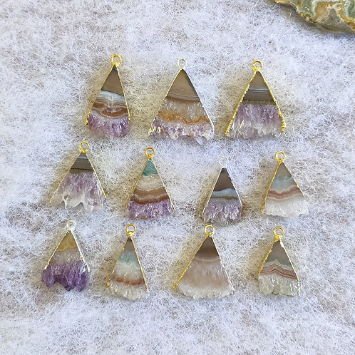 Amethyst Slice pendant (Triangle) (20-30mm)
