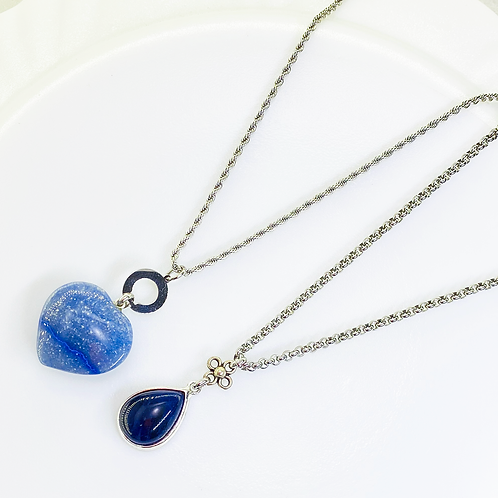 Necklace (Blue Quartz - Sodalite)(Chains: 50-55 cm)