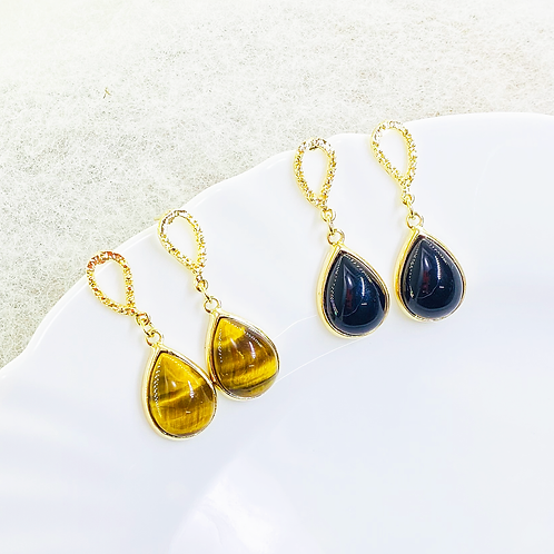 Earrings (Onix - Tiger's Eye)