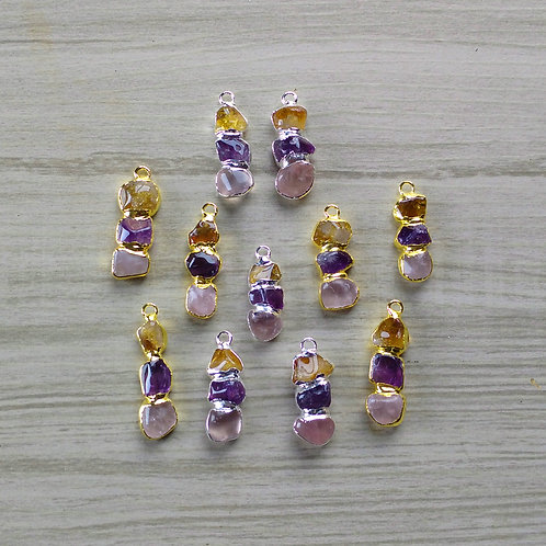 Triple Tumbled (Citrine+Amethyst+Rose quartz) Pendant (22-25 mm)