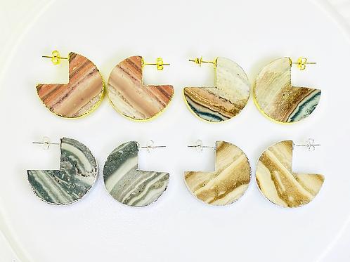 Jasper Stud Earrings (Pacman shape)