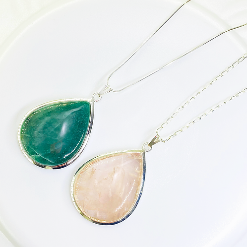 Necklace (Rose Quartz-Green Quartz)(Chains: 40 cm)