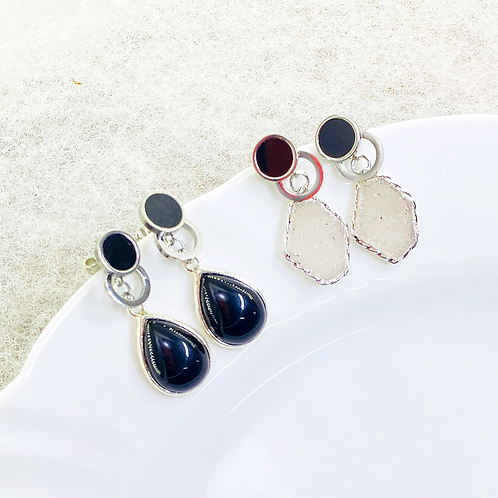 Earrings (Onix - Druzy)