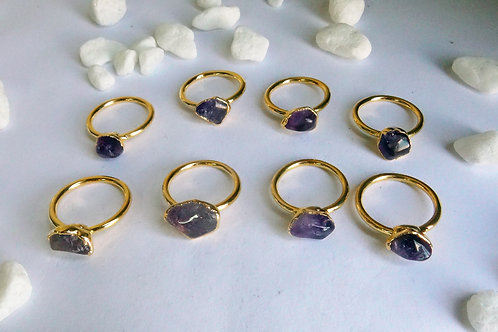 Tumbled amethyst ring (Sized)