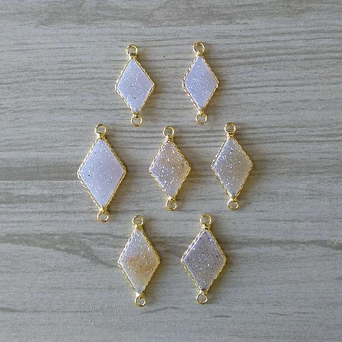 Diamond shape druzy Connector (20-25 mm)(New Plating)