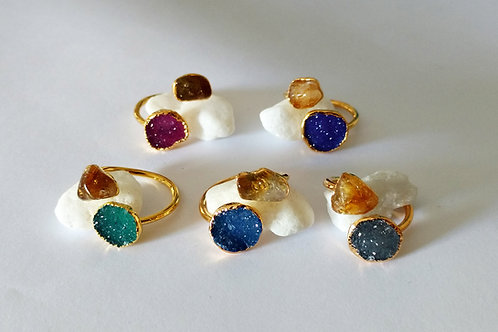 Dual Ring (Druzy Freeform(mixed colors) + Tumbled Citrine)
