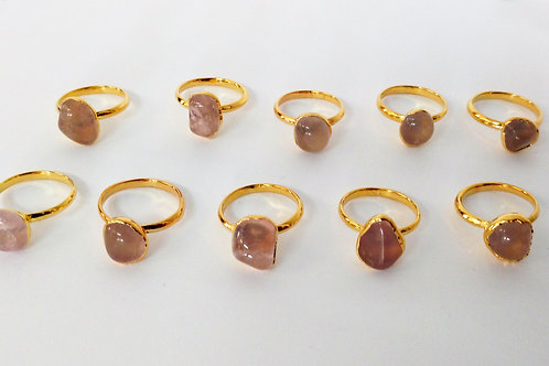 Tumbled Rose Quartz ring (Sized)