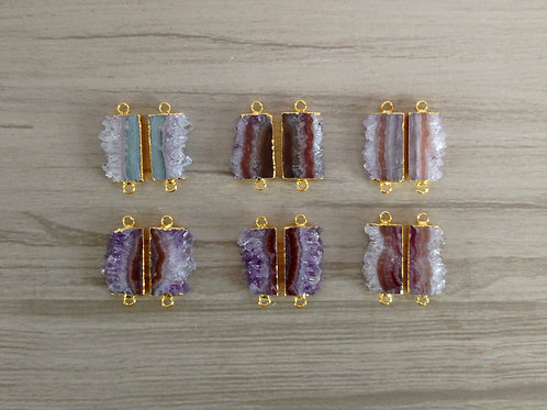 Amethyst Slice Pairs Connectors (Rectangle) l