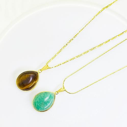 Necklace (Green Quartz-Tiger's Eye)(Chains: 40 cm)