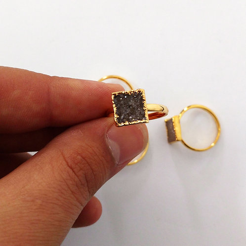 Square Druzy ring (Sized)
