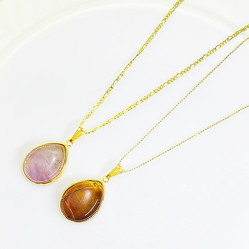 Necklace (Amethyst and Tiger's Eye)(Chains: 40 cm)