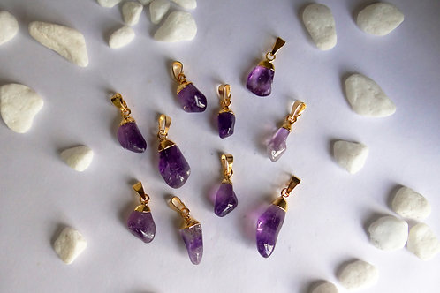 Tumbled amethyst pendants