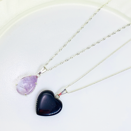 Necklace (Amethyst - Onix) (Chains: 40 cm)