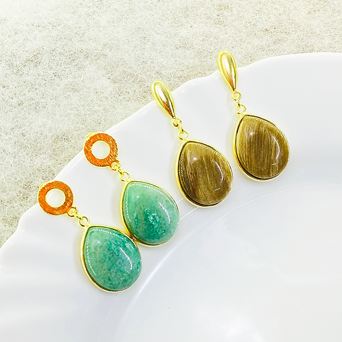 Earrings (Green Quartz - Jasper)