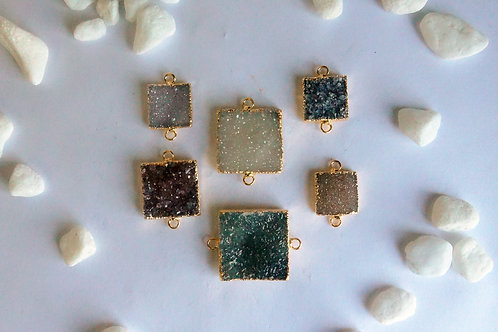Square druzy connector (15-25 mm)