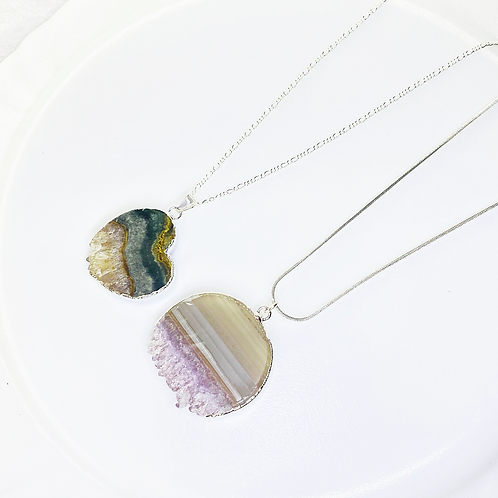 Necklace (Amethyst Slice)(Chains: 50 cm)
