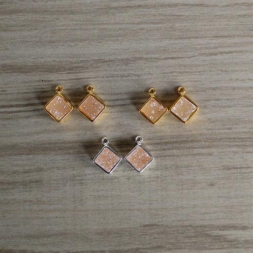 Square Druzy Pairs (7 mm)
