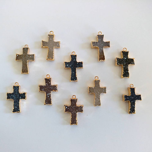 Druzy Crucifix pendant